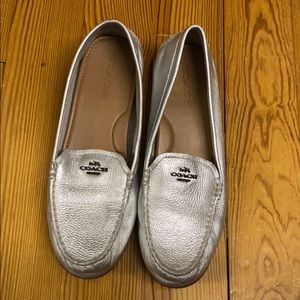 Coach size 10 silver leather loafers